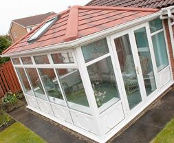 Conservatory with lightweight tiles