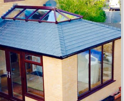 Conservatory with tiles and roof lantern