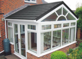 black supalite tiled conservatory roof