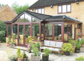 black tiled conservatory roof